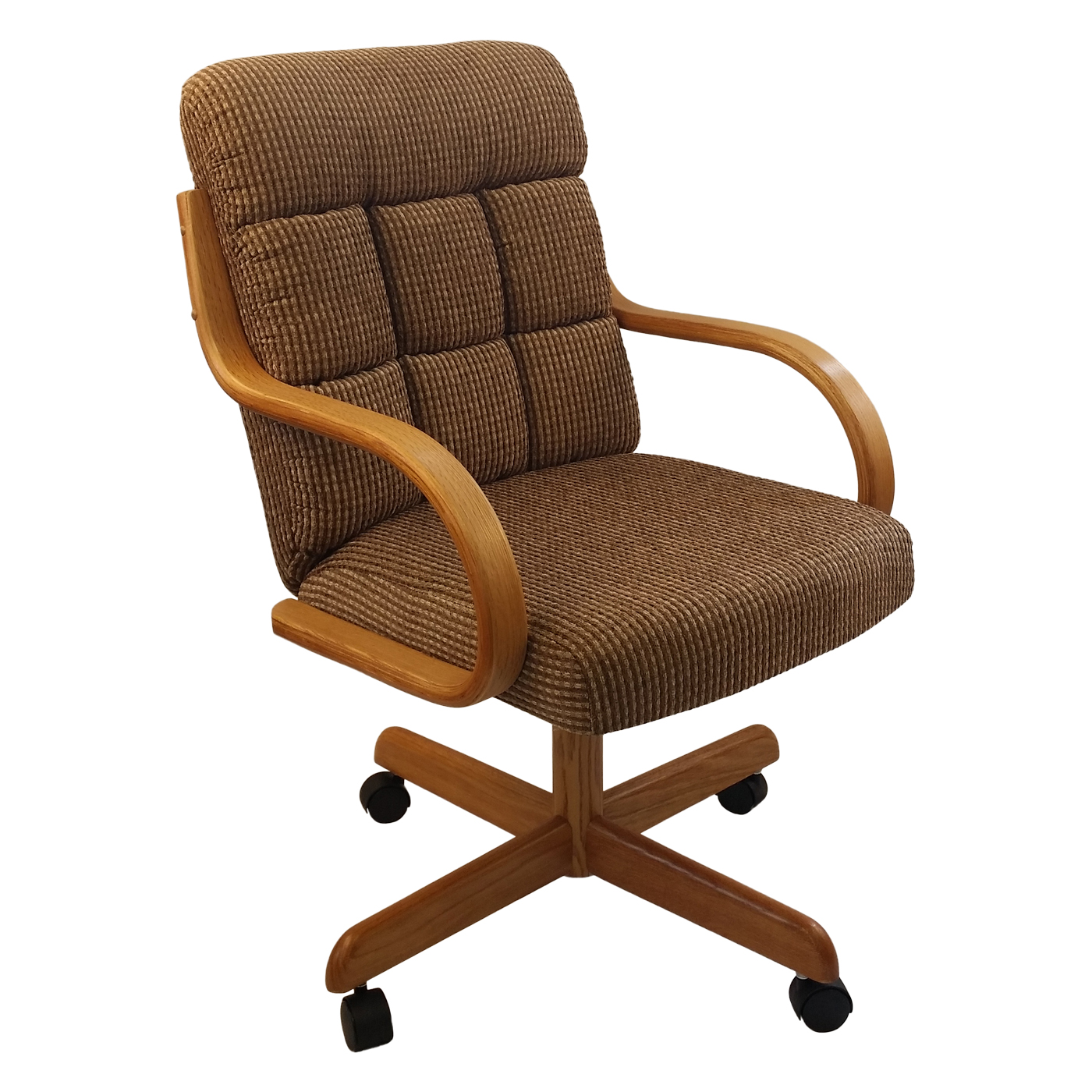 Caster Chair Company C118 Arlington Swivel Tilt Caster Arm Chair Caramel Tweed Fabric (Set of  sc 1 st  Caster Chair Company Replacement Swivel & Caster Chairs